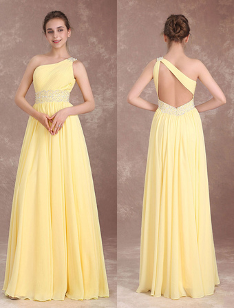 4bffe5fe9 Vestido de Dama de Honor Largo de línea A con pliegues hasta el suelo de  color