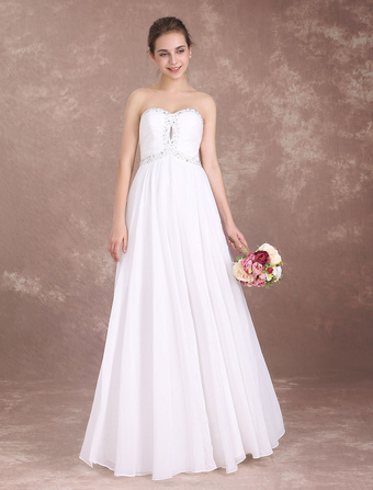 Wedding dresses under 100 milanoo beach wedding dress strapless chiffon prom dresses long beaded sweetheart neckline floor length summer bridal gown junglespirit Image collections