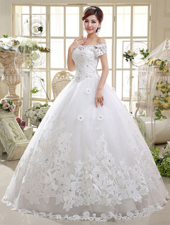 Ball Gown Wedding Dresses Lace Princess Bridal Off The Shoulder Ivory Short Sleeve Beaded Floor