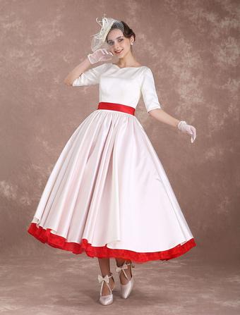 Rockabilly Wedding Dresses Short Vintage Bridal Dress 1950's Satin Half Sleeve V Back Bow Sash Tea Length Wedding Reception Dress Milanoo