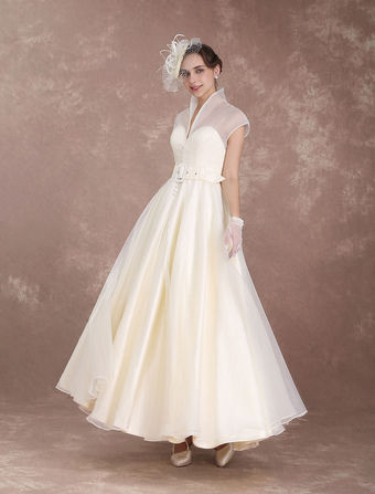 Vintage Wedding Dress Ivory Short Bridal Dress Detachable Sash Organza High Collar Satin V Neck Illusion 1950's Ankle Length Bridal Gown Milanoo