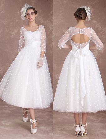 Vintage Wedding Dress Short 1950s Bridal Dresses Ivory Long Sleeve Open Back Polka Dot Ribbon Sash