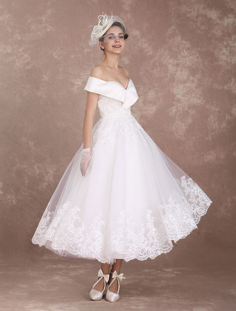 Vintage Lace Wedding Dress Vintage Tea Leanth Wedding Dress - Vintage Wedding Dresses