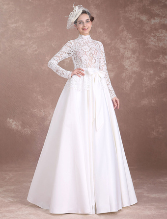 Vintage Wedding Dresses Lace Ivory Bridal Dress Long Sleeve High Collar Illusion Satin Cut Out Floor