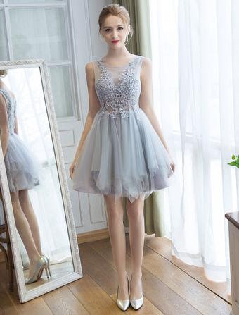02a5e1431bca Tulle Homecoming Dresses Lace Applique Tutu Dress Light Gray Short Prom  Dress