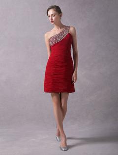 e92bd3fde Vestido elegante de cóctel de chifón rojo con escote a un solo hombro sin  mangas con