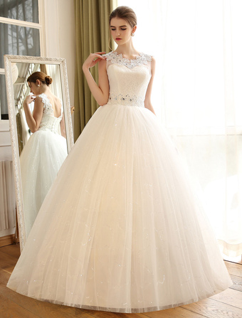 cd978c2934c7e Princess Ball Gown Wedding Dresses Lace Applique Backless Beaded Sash  Sequin Floor Length Ivory Bridal Dress