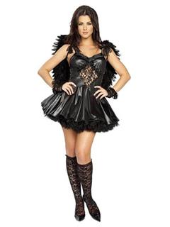 3cd455f89 Sexy Halloween Costume Angel Women Vestido preto com asas
