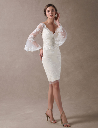 Boho Wedding Dresses Short Sheath Beach Bridal Dress Bell Sleeve Lace  Applique V Neck Knee Length