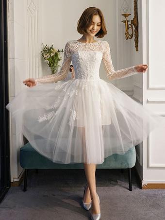 4702a343a Vestidos de novia cortos Vestido de novia de manga larga de ilusión de  longitud de té