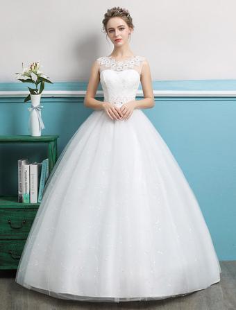 92d563fcf0d Robe de bal Princesse 2019 robes de mariée tulle dos nu ivoire perles  longueur plancher robe
