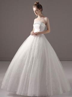 1764a802d13 Robes de mariée robe de bal princesse sans bretelles en satin dentelle  étage longueur robe de