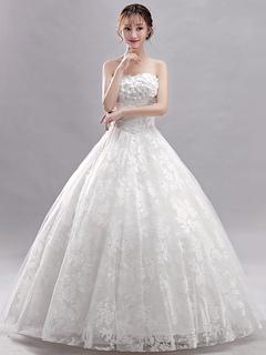 9d9e1d150 Vestidos de novia de la princesa del vestido de bola de marfil sin tirantes  de flores
