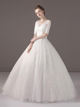 e740c6a4e6 Vestidos de casamento princesa vestido de baile meia manga V Neck Lace  frisada até o chão