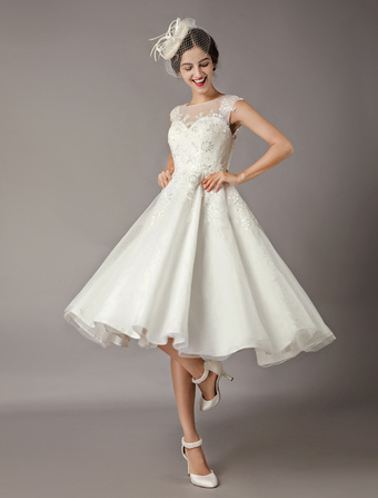 c6bd4ab9041 Vintage Wedding Dresses Short Lace Tulle Sequin Tea Length Ivory Bridal  Dress
