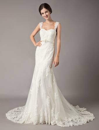 f4d614a7ec Wedding Dresses Mermaid Ivory Lace Straps Beading Backless Bridal Gowns