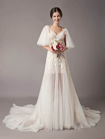 73480820132 Boho Wedding Dresses Tulle Lace V Neck Butterfly Sleeve Backless Summer Beach  Bridal Gowns