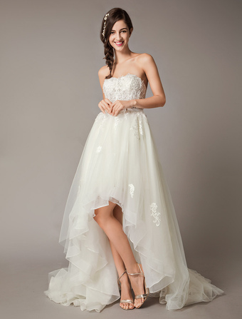 High Low Wedding Dresses Strapless Lace Tulle Bow Sash Asymmetrical Summer  Beach Bridal Dress b796df6cf