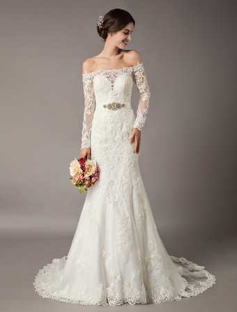 0ffb1cc825 Lace Wedding Dresses Ivory Mermaid Off Shoulder Long Sleeve Beaded Sash Bridal  Gowns With Train