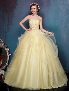 d502a08b6fd5 Abiti Quinceanera Daffodil Princess Ball Gowns Senza spalline Piano  Lunghezza Abito da donna di lusso