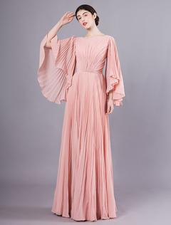 24707213a52 Robes De Bal 2019 Blush Rose Longue Robe De Soirée En Mousseline De Soie  Plissée Rose