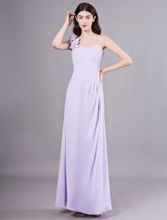 030039e6e Vestidos de dama de honor de color lila Vestido de fiesta de boda plisado  con gasa