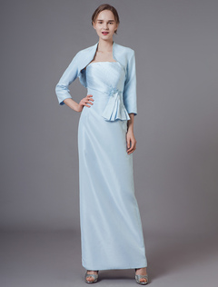 656c46b374a Mother Of The Bride Outfit Dress Jacket Pastel Blue Satin Pleated Applique  Two Piece Set