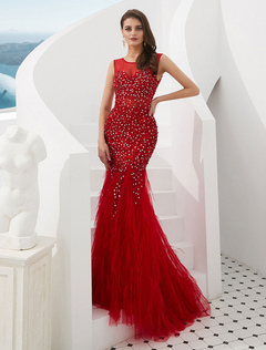 Abiti da sera rossi Sirena con perline di piume Tulle Abiti convenzionali  di lusso con il 619e79c82eb