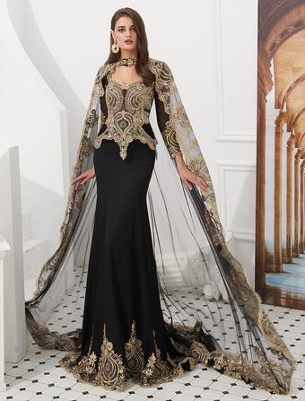44709bcf9b42 Abiti da sera di lusso ricamati in rilievo abito da donna con maniche lunghe  in stile