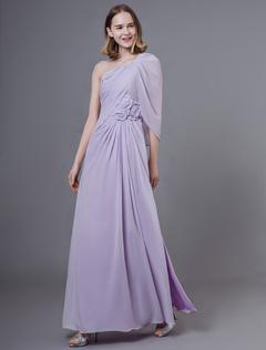 d8ff3064065b313 Платья выпускного вечера длинные сиреневые шифон одно плечо плиссированные  длиной до пола, вечернее платье