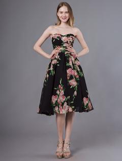 58979f9d6a Vestidos de fiesta cortos con estampado floral sin tirantes cariño hasta la  rodilla vestido de fiesta