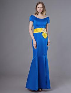 83b59d773ec2 Abiti da sera Royal Blue Satin maniche corte perline abiti convenzionali.  Anteprima Lista dei desideri
