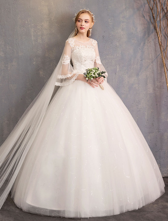 cc8e9c6b3ac2d Ball Gown Wedding Dresses Tulle Jewel 3/4 Length Sleeve Floor Length  Princess Bridal Gown