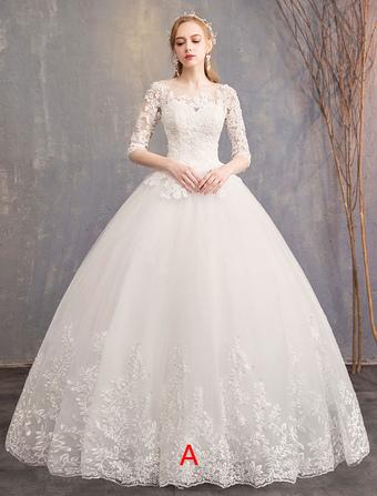 ba2c4b5eec Vestidos de novia de princesa Encaje Ilusión Escote medio manga palabra de  longitud vestido de novia