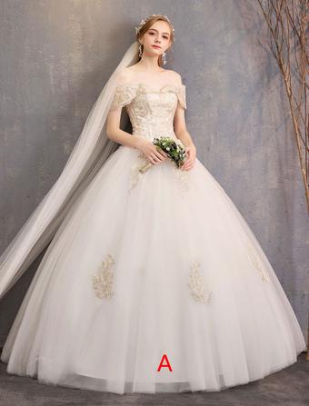 a4c3c6c7a Vestido de novia de princesa Aplique de encaje marfil con hombros  descubiertos