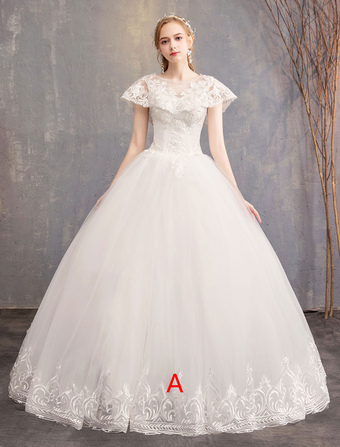 2312a20e1ab4b チュールのウェディングドレスアイボリージュエルレースアップリケ半袖プリンセスブライダルドレス
