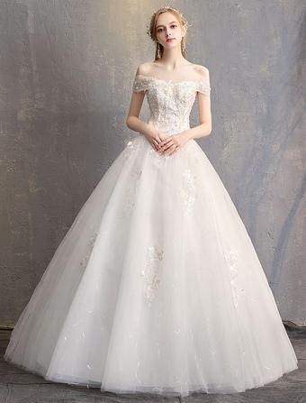 736b9478bc6 Robes de mariée robe de bal princesse de l épaule ivoire dentelle perlée  longueur de