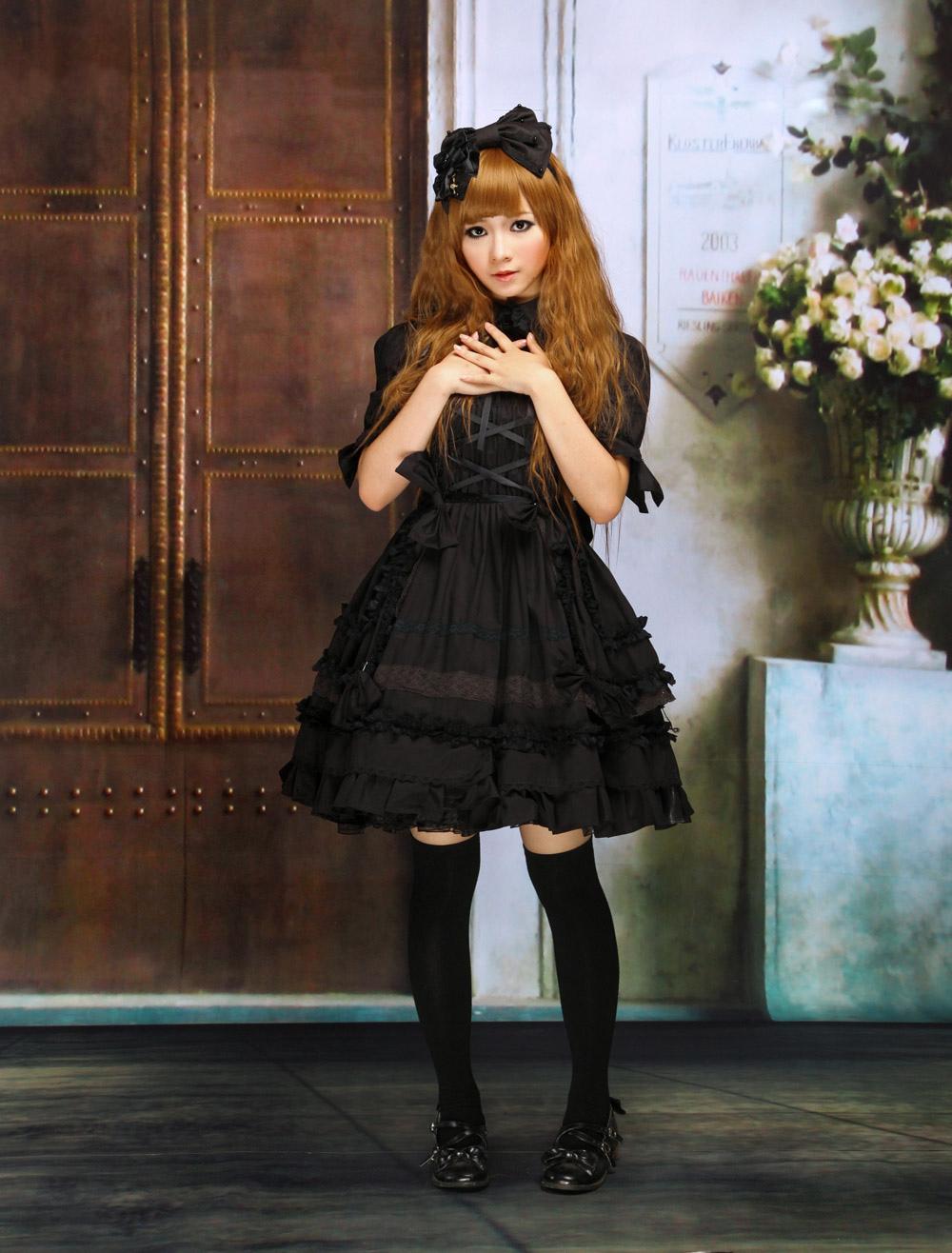 Lolitashow Gothic Lolita Kleid OP schwarz Kurzarm Shirring Lace Up ...