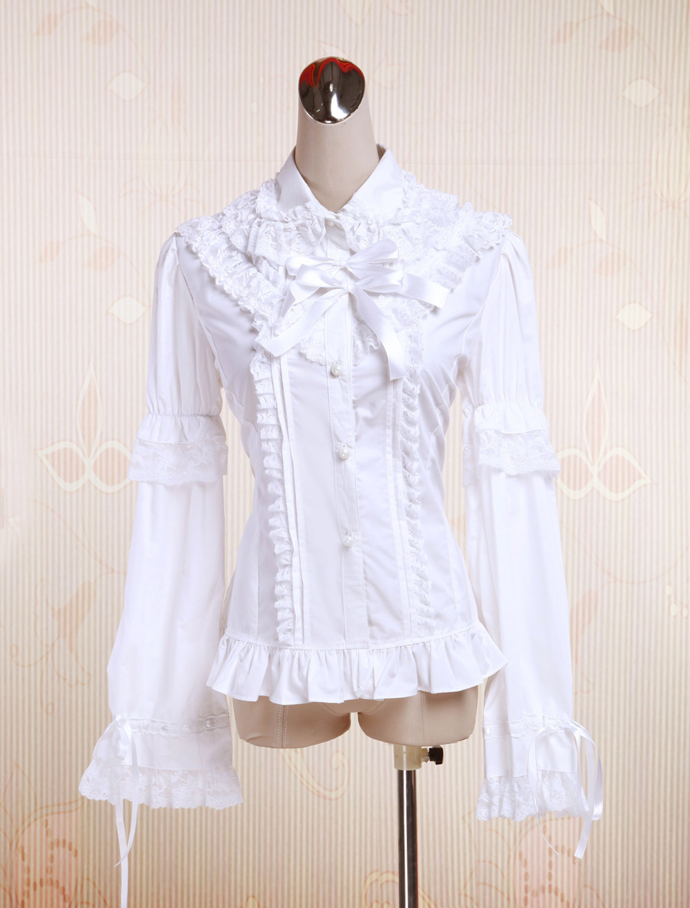 56ad0a428f7 Lolitashow Pure White Cotton Lolita Blouse Long Sleeves Lace Trim Lace Bows  - Lolitashow.com