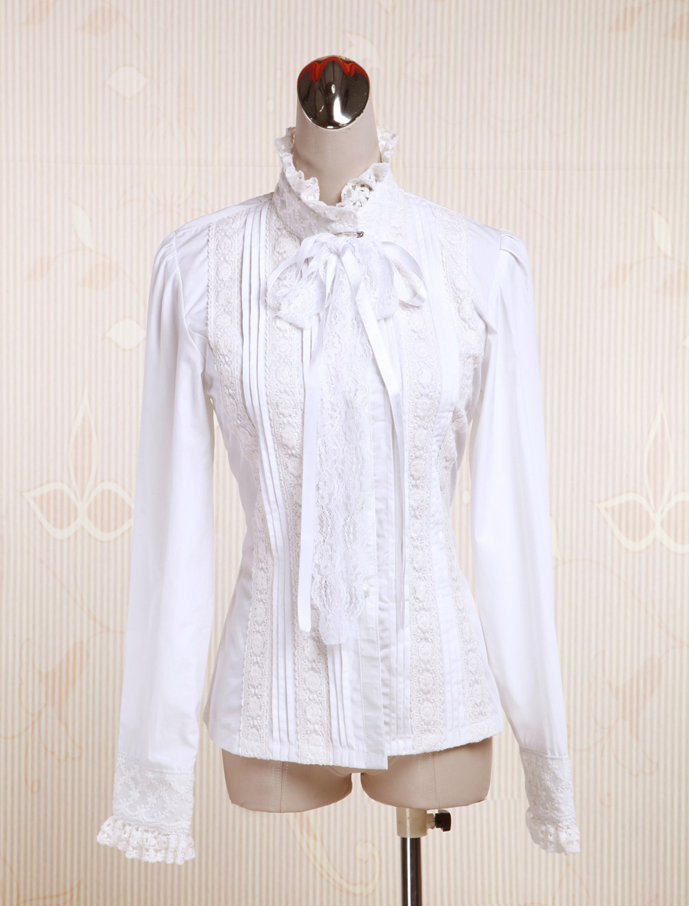 1eb43c50 Lolitashow White Cotton Lolita Blouse Long Sleeves Stand Collar Lace Trim Lace  Up - Lolitashow.com