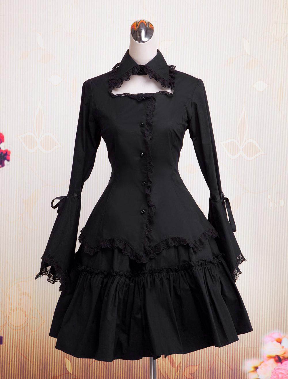 lolitashow gothic lolita kleid black op lange hime Ärmeln rüschen trim  baumwolle lolita einteiler spitzenkleid