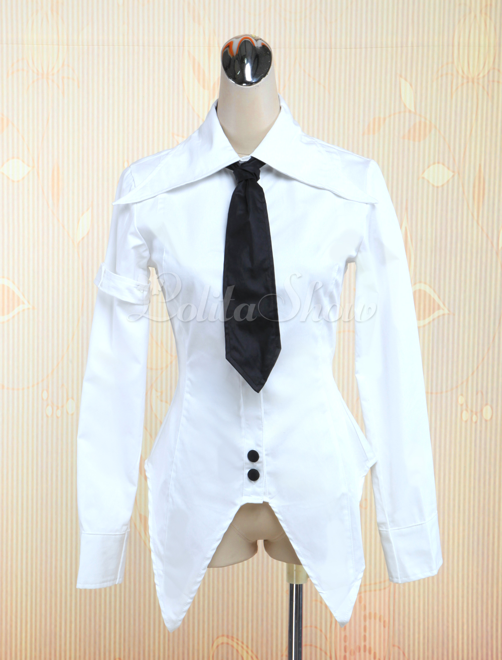 d1e1cee1799 Lolitashow White Cotton Lolita Blouse with Black Tie Long Sleeves Sharp  Front Trim - Lolitashow.com