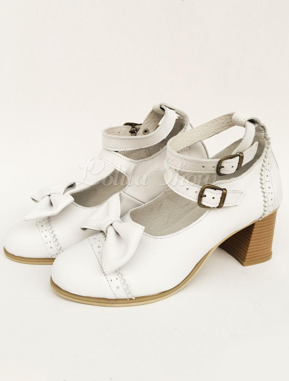 10a4735ed97 Lolitashow Lolita Chunky Heels White Double Strap Sweet Lolita Shoes With  Bow - Lolitashow.com