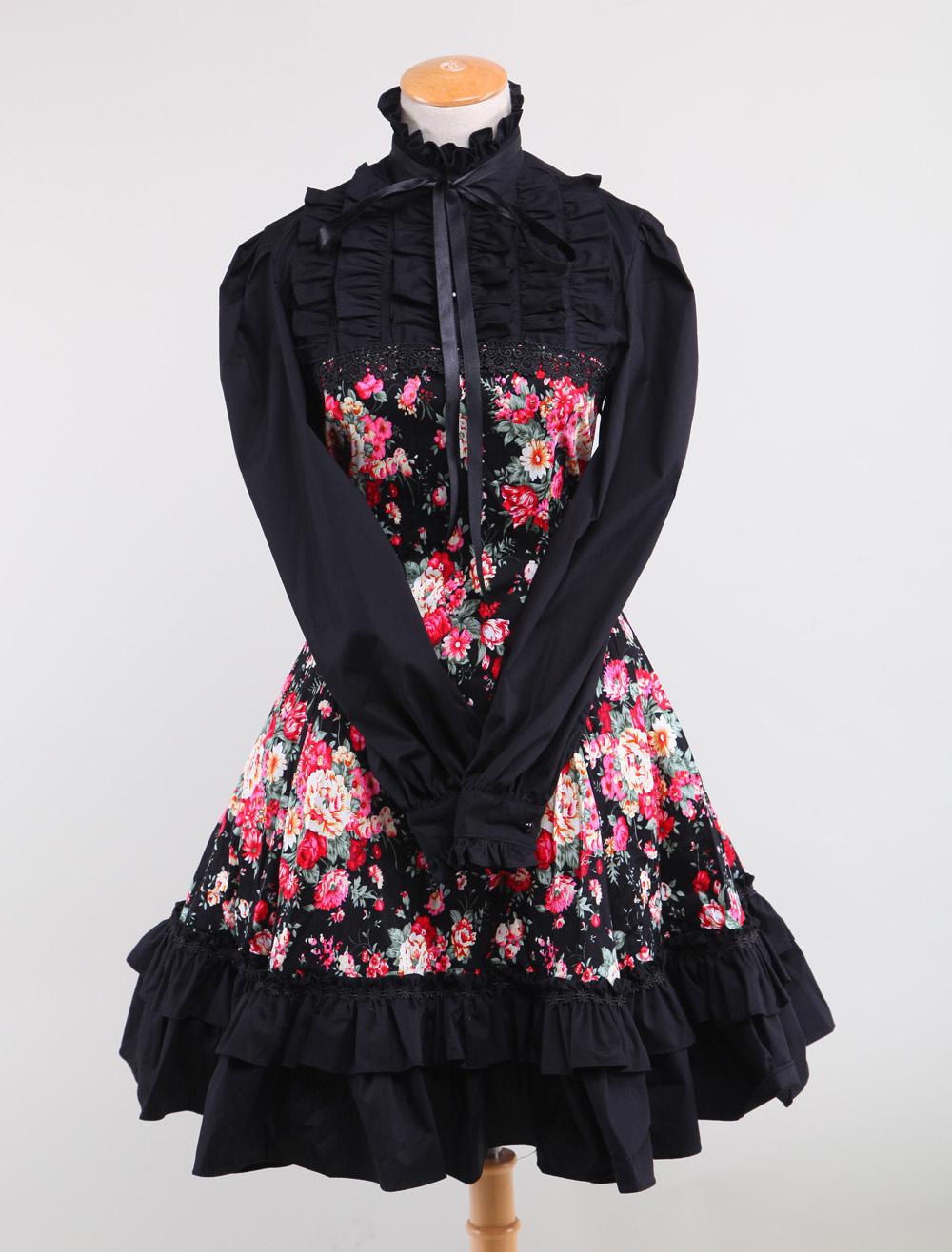Lolitashow Schwarzes Lolita Kleid mit langen Ärmeln und schönen ...