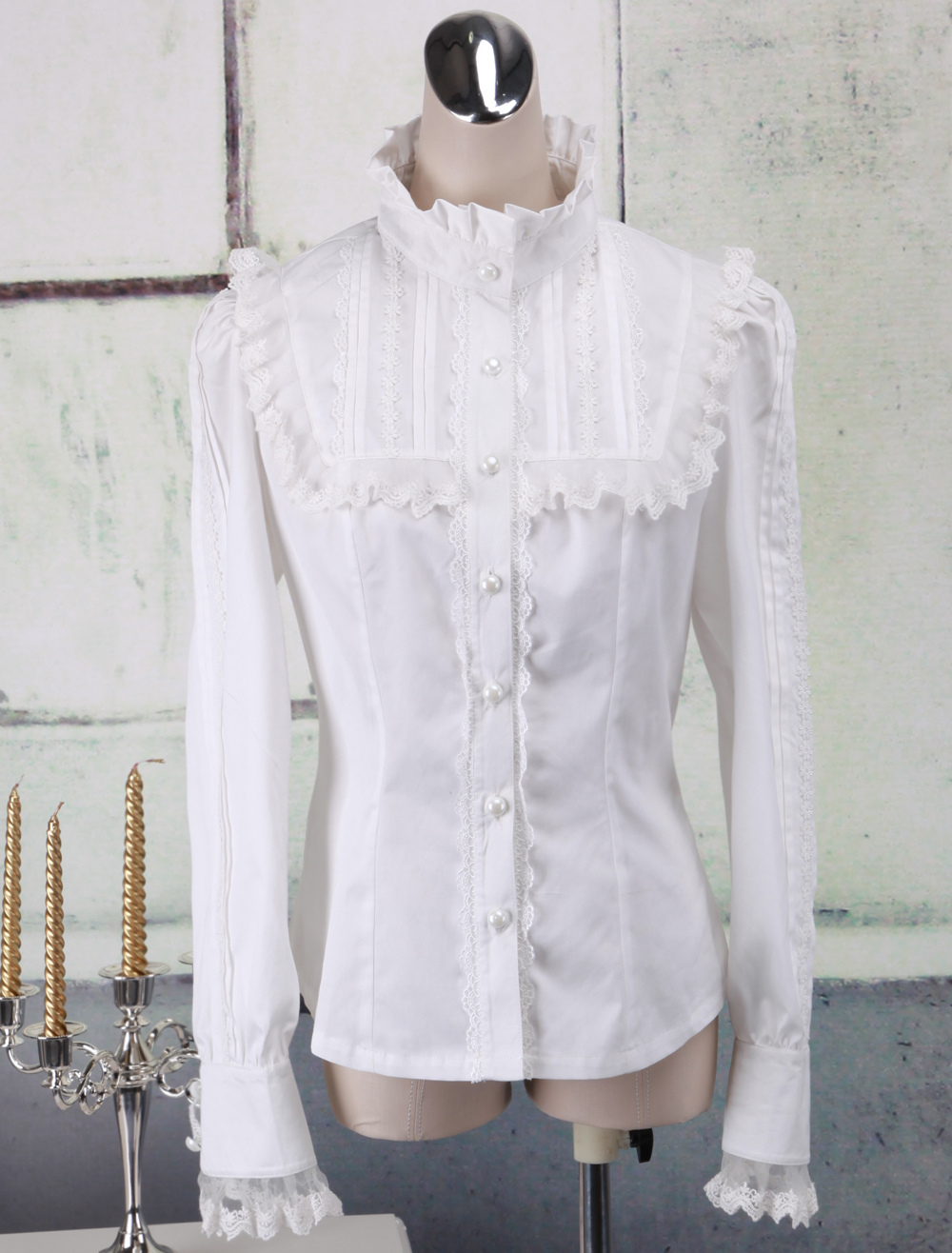 2a94e325413 Lolitashow White Cotton Lolita Blouse Long Sleeves Lace Trim Stand Collar -  Lolitashow.com