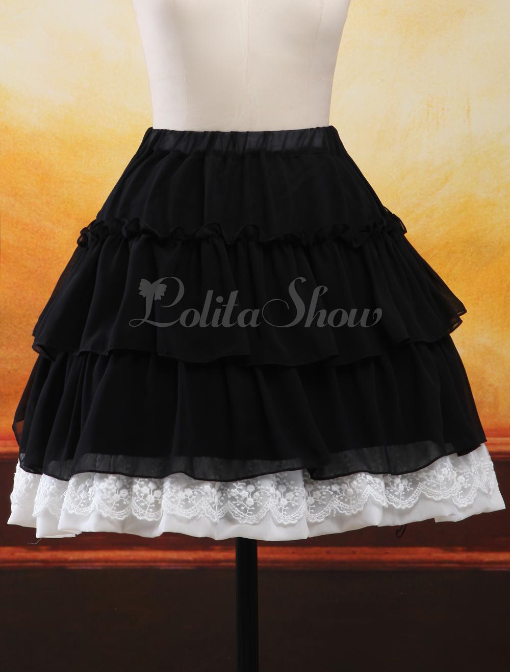 7e8ff9c52 Lolitashow Falda de gasa de color negro de multi-capas de estilo gótico