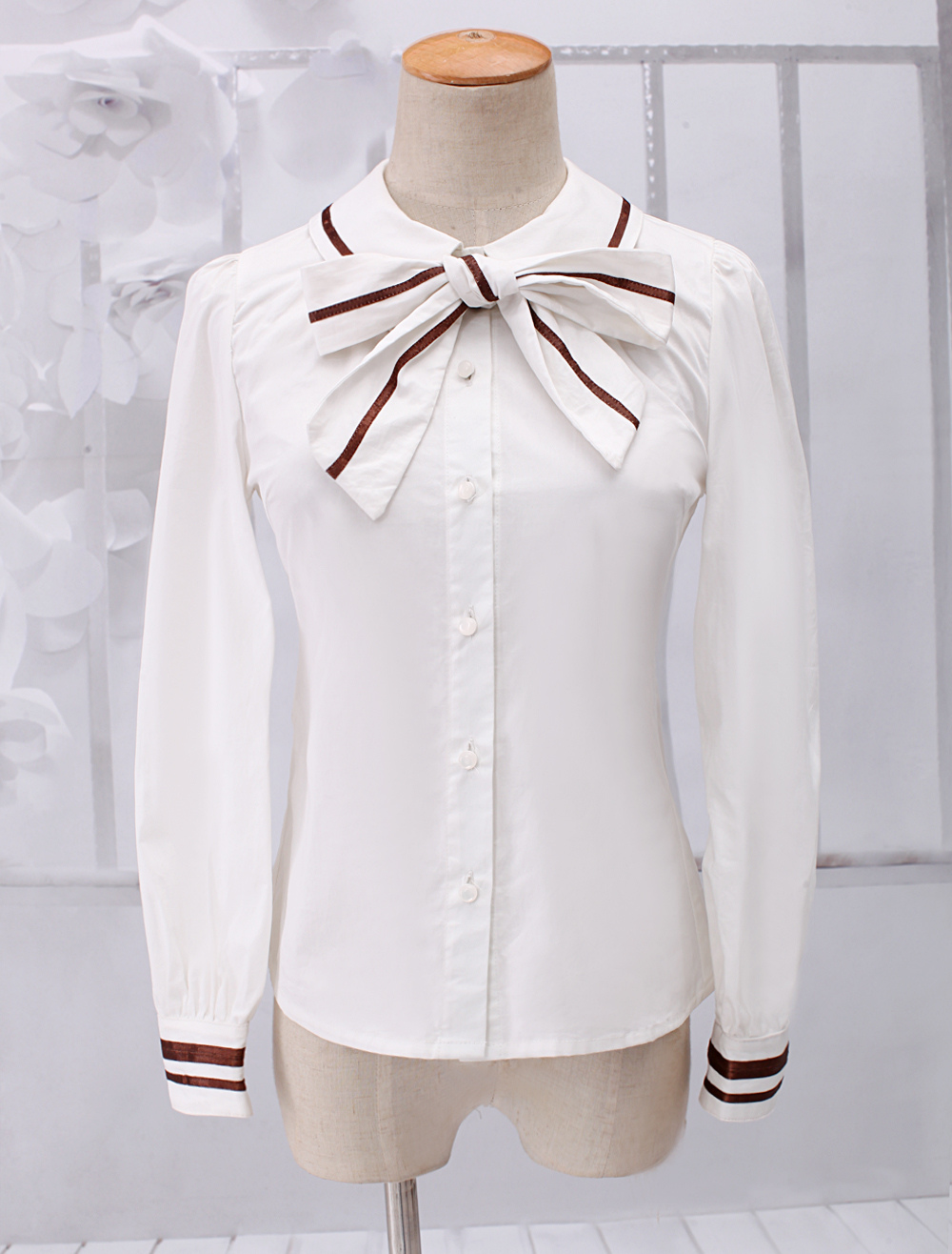 44117449b74 Lolitashow Dandy White Long Sleeves Cotton Lolita Blouse - Lolitashow.com