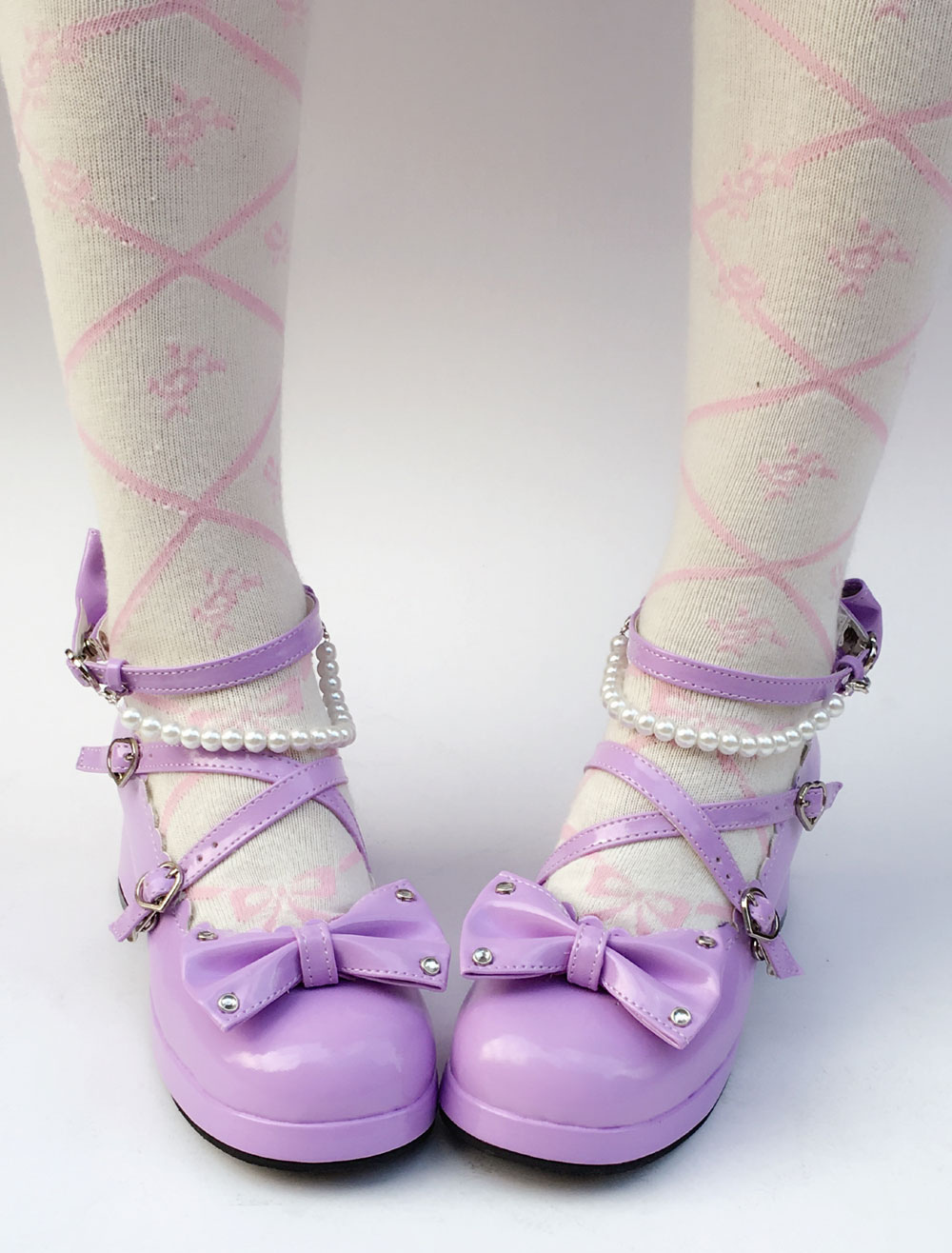 d2dcf9a7db8 Lolitashow Purple Lolita Shoes Sweet Chunky Heel Pearl Round Toe Bow Cross  Front Ankle Strap Lolita Pumps - Lolitashow.com