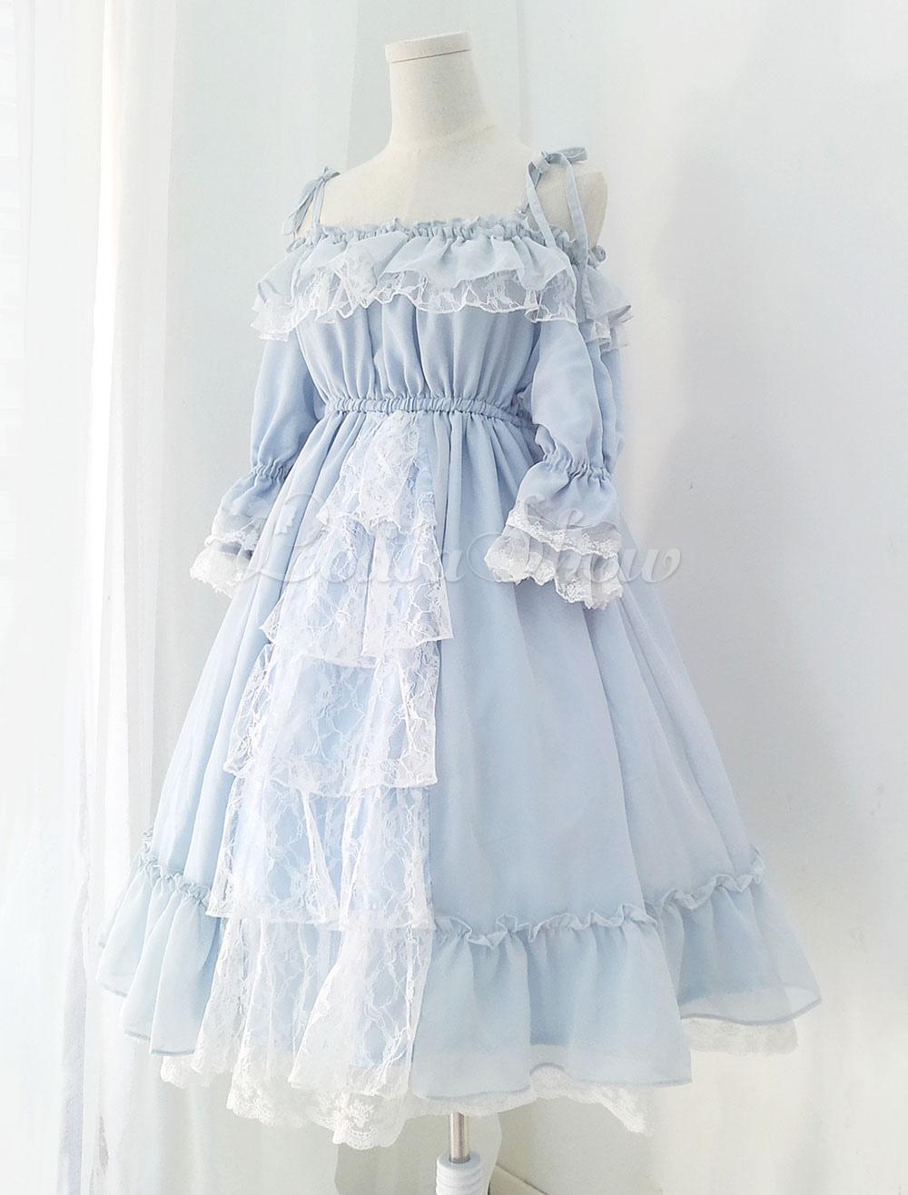 kleid spitze hellblau