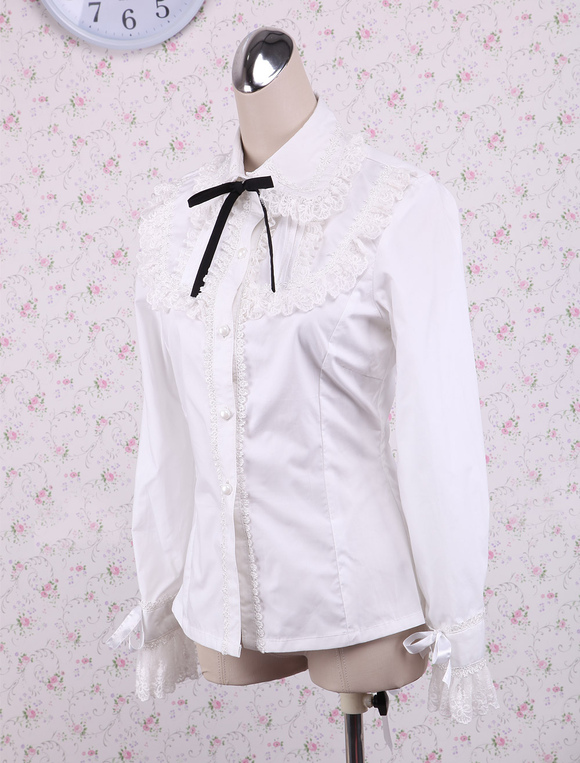 7aa193d4beb ... Lolitashow White Cotton Lolita Blouse Long Sleeves Lace Trim Turn-down  Collar Black Bow ...